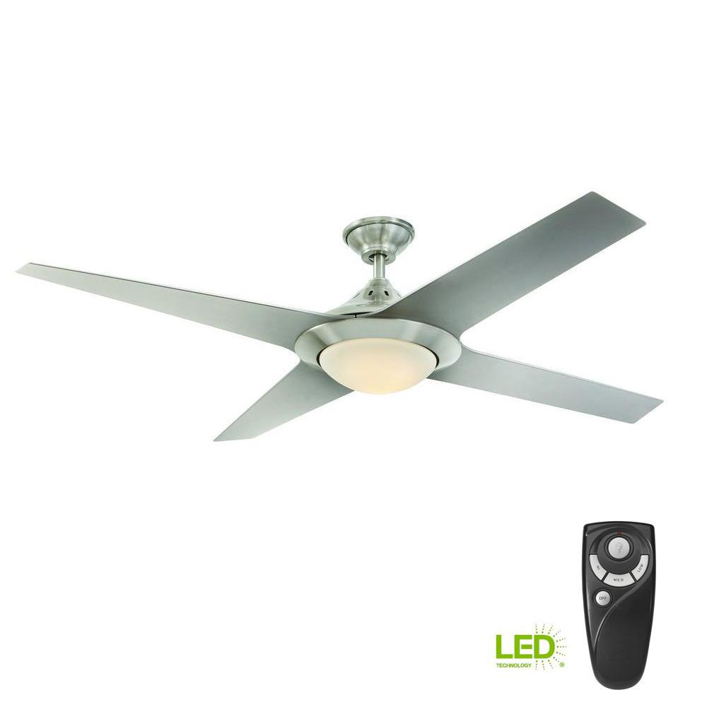 Home Decorators Collection Folsom 60 In Led Indoor Brushed Nickel Ceiling Fan With Light Kit