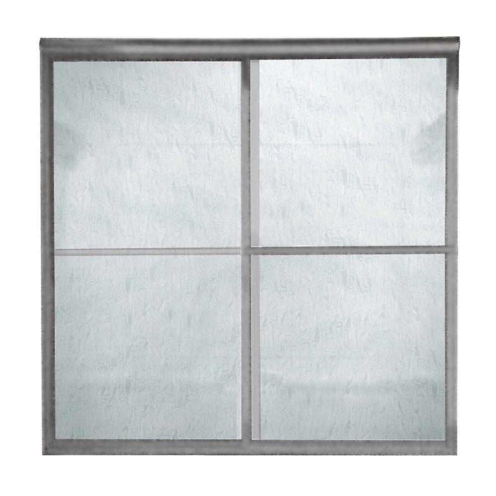 Prestige 60 in. x 71.5 in. Framed Bypass Shower Door in Brushed Nickel with Rain Glass