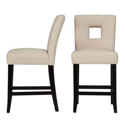 24 in. Sorrento Oatmeal Cushioned Bar Stool (Set of 2)