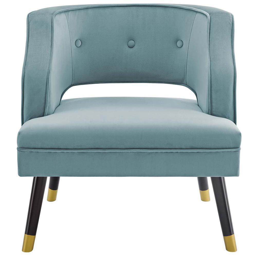 Traipse Light Blue Button Tufted Open Back Performance Velvet Armchair