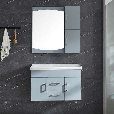 Victoria II 32 in. W x 21 in. D x 20 in. H Vanity in Grey with Ceramic Vanity Top in White with White Basin and Mirror