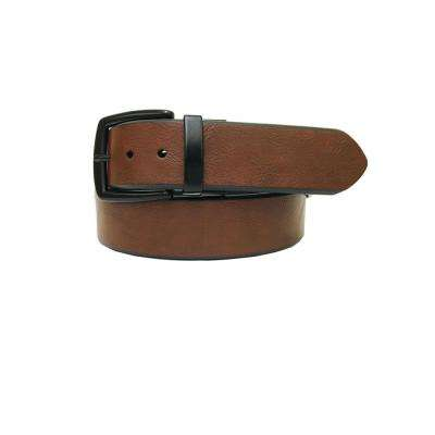 Men's Size 44 Tan/Black Genuine Leather Reversible Belt