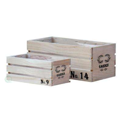 14 in. W x 7 in. D x 5.75 in. H Distressed Wood Crate Planters (Set of 2)
