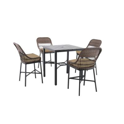 Beacon Park 5-Piece Brown Wicker Outdoor Patio High Dining Set with CushionGuard Toffee Tan Cushions