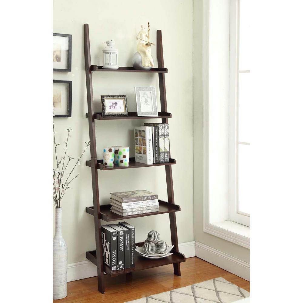 American Heritage Espresso Ladder Bookcase