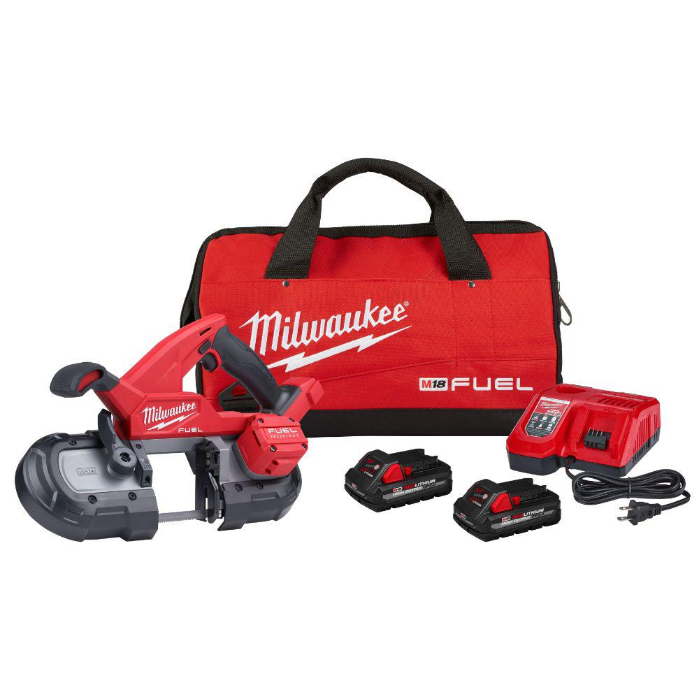 Milwaukee M18 FUEL 18-Volt Lithium-Ion Brushless Cordless Compact Bandsaw Kit with Two 3.0 Ah High Output Batteries