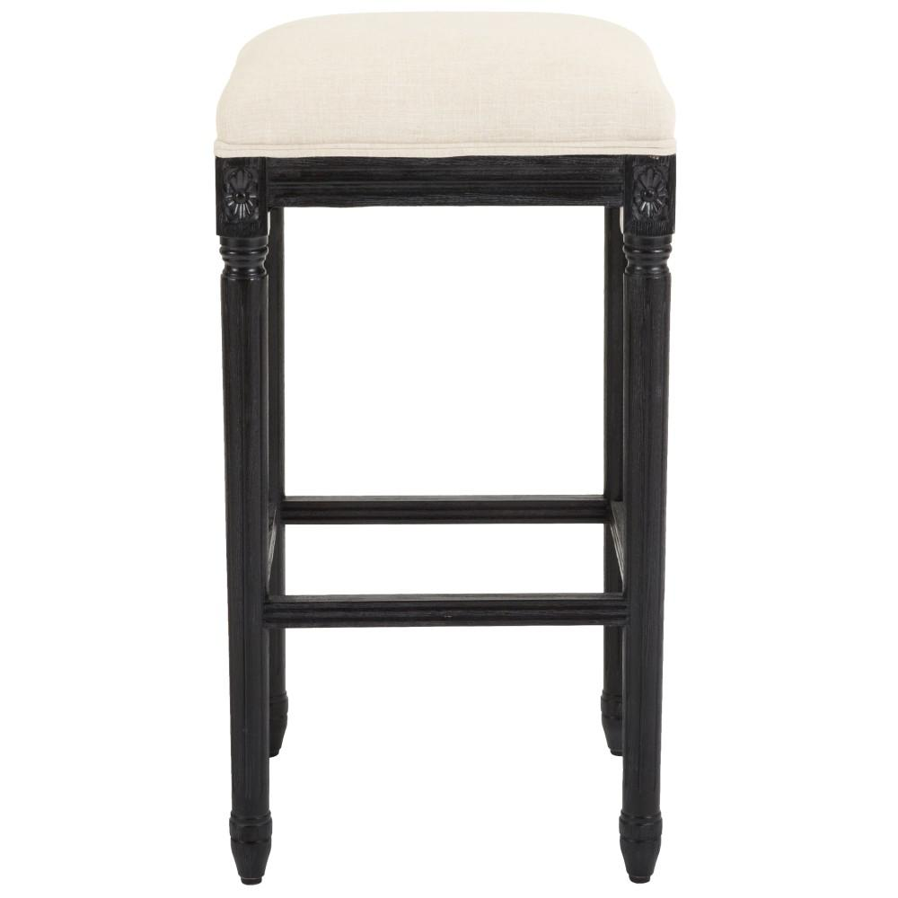 Jacques 31 in. Natural Cushioned Bar Stool in Antique Black