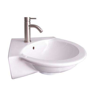 Evolution Corner Wall-Hung Sink in White with 1 Faucet Hole