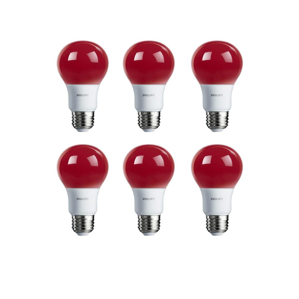 Philips 60-Watt Equivalent A19 Non-Dimmable Red LED Colored Light Bulb  (6-Pack)