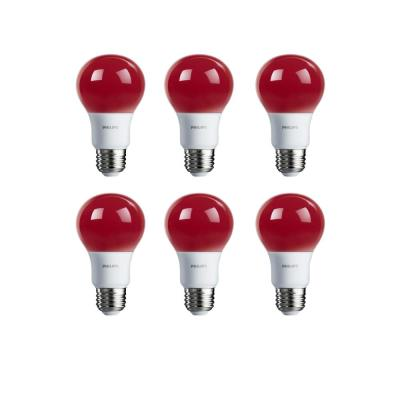 60-Watt Equivalent A19 Non-Dimmable Red LED Colored Light Bulb (6-Pack)