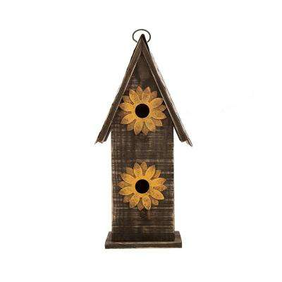 14.17 in. H Distressed Solid Wood Birdhouse with Two Flowers