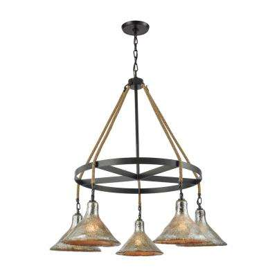 Hand Formed Glass 5-Light Oil Rubbed Bronze Chandelier with Antique Mercury Bell Glass Shades