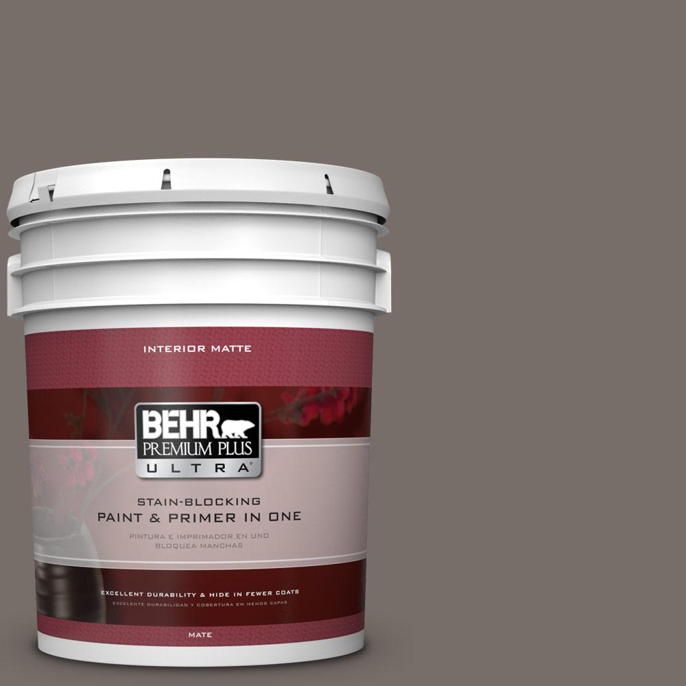 BEHR Premium Plus Ultra 5 gal. #bnc-37 Gray Owl Matte Interior Paint and Primer in One, Grays
