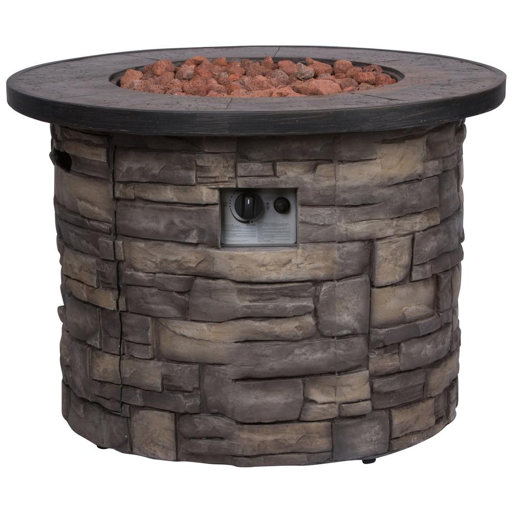 Shine Company Sevilla 35 in. Dia Round Magnesium Propane Gas Stone Outdoor Fire Pit Table with Lava Rock