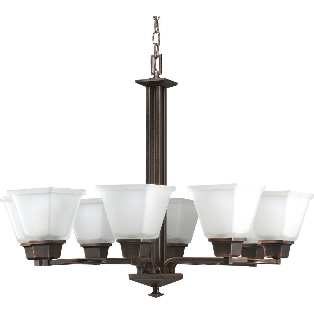 Progress Lighting North Park Collection 8-Light Venetian Bronze Chandelier with Shade with Etched Glass Shade