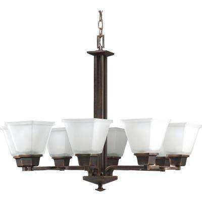 North Park 8-Light Venetian Bronze Chandelier with Etched Glass Shade