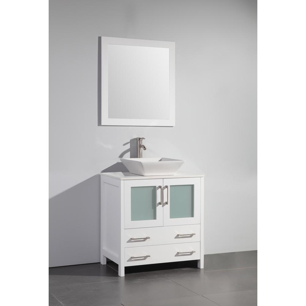 Vanity Art Ravenna 30 in. W x 18.5 in. D x 36 in. H Bathroom Vanity in White with Single Basin Top in White Ceramic and Mirror