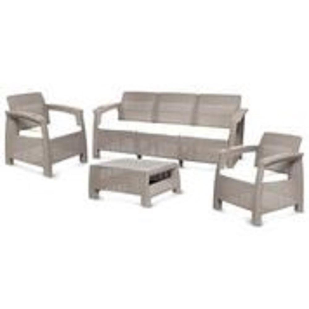 MQ Ferrara Rich Taupe 4-Piece Plastic Outdoor Patio Sofa Set with Light  Beige Cushions