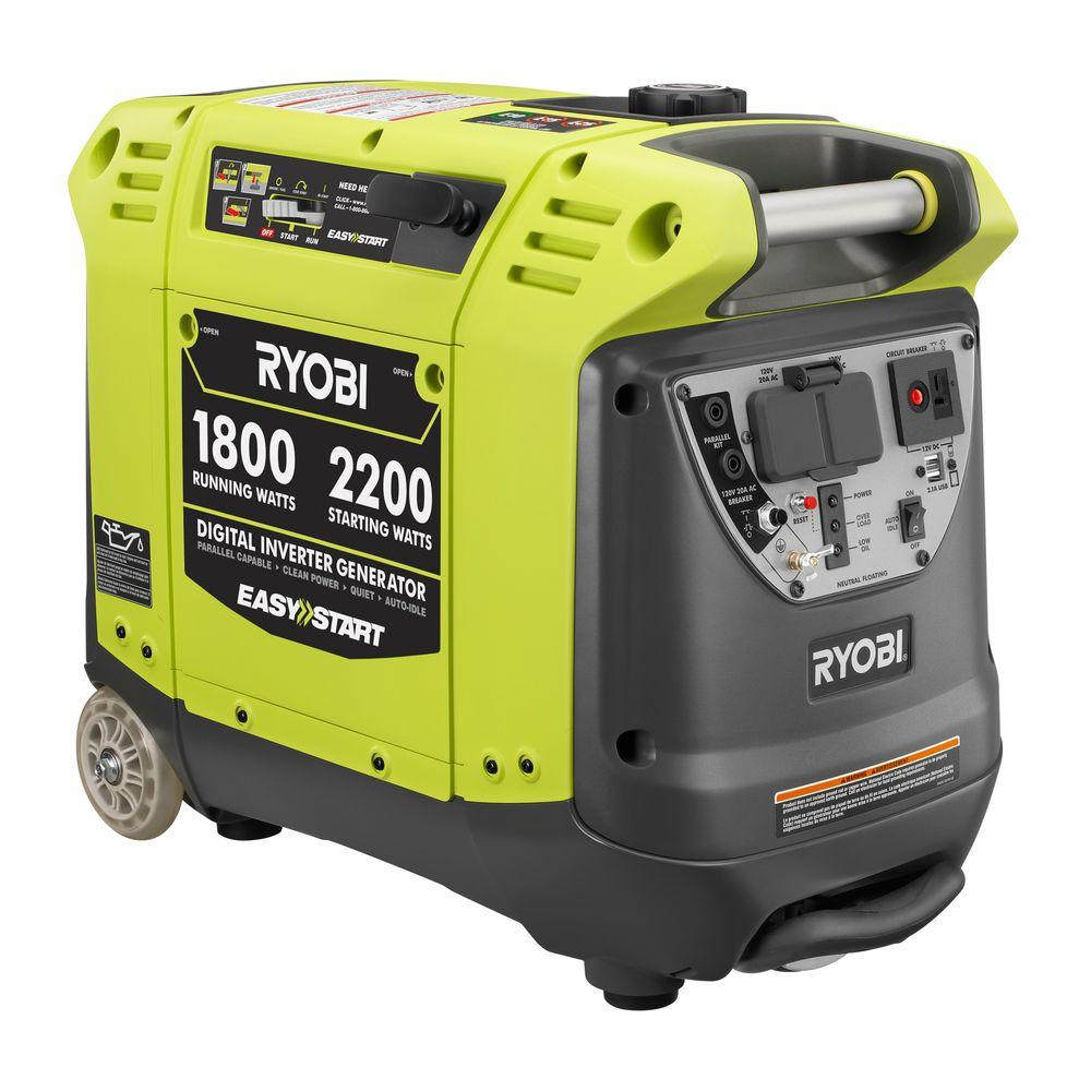 RYOBI Refurbished 1800-Watt Green Gasoline Powered Portable Generator with Digital Inverter Generator