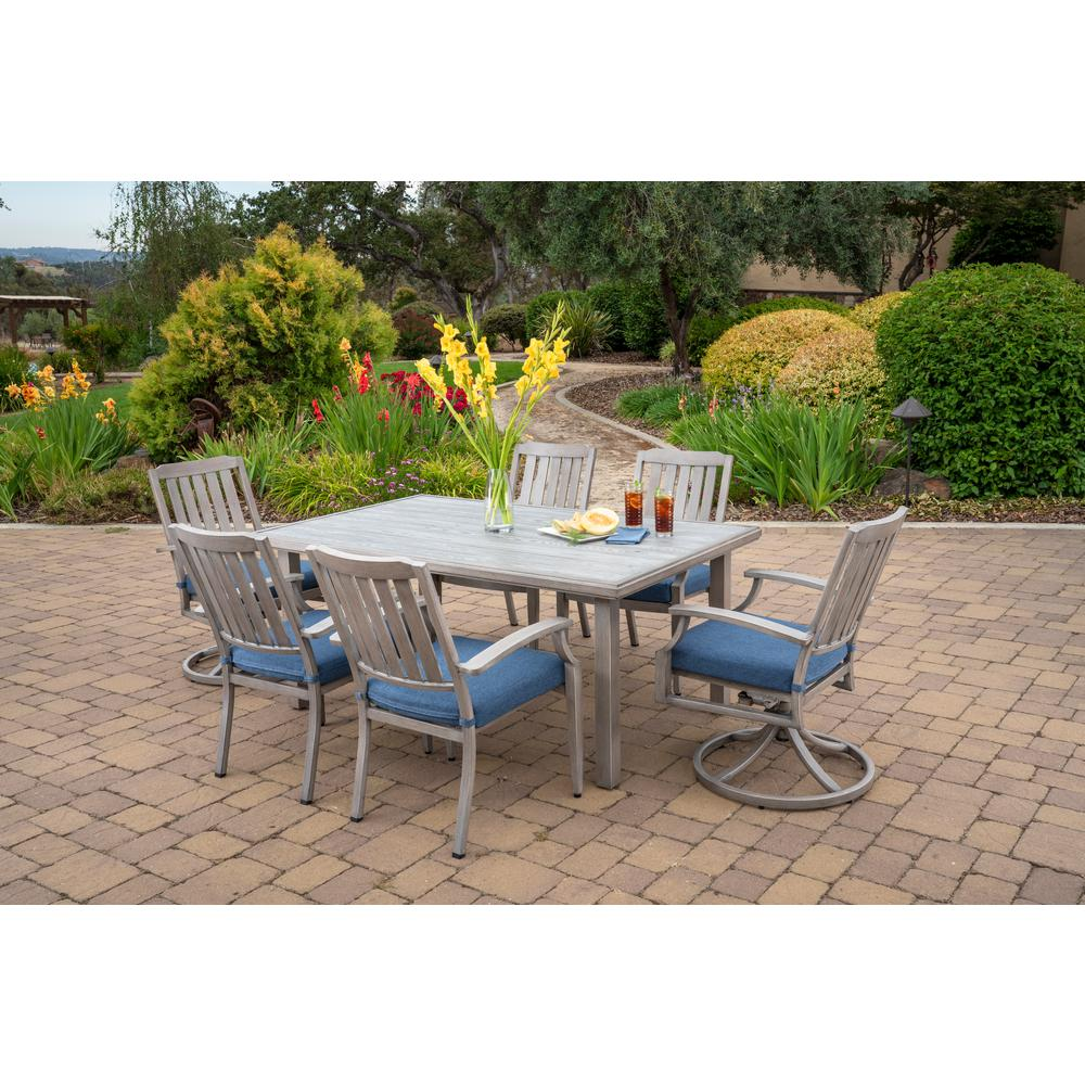 Ordinaire Foremost Casual Tanglewood 7 Piece Aluminum Outdoor Dining Set With Texture  Blue Cushions