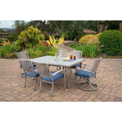 Tanglewood 7-Piece Aluminum Outdoor Dining Set with Texture Blue Cushions