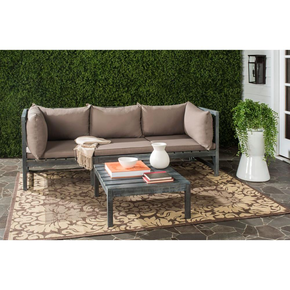 Safavieh Lynwood Modular Ash Grey Outdoor Patio Sectional Set With Taupe Cushions