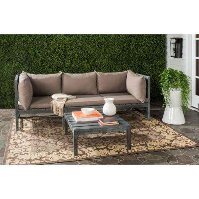 Lynwood Modular Ash Grey Outdoor Patio Sectional Set with Taupe Cushions