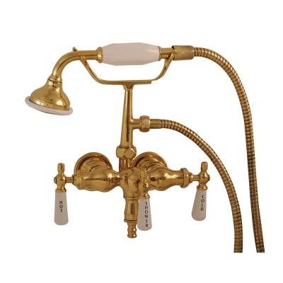 3-Handle Claw Foot Tub Faucet with Old Style Spigot and Hand Shower in Polished Brass