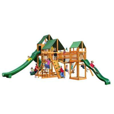 Treasure Trove II Swing Set with Amber Posts and Sunbrella Canvas Forest Green Canopy Playset