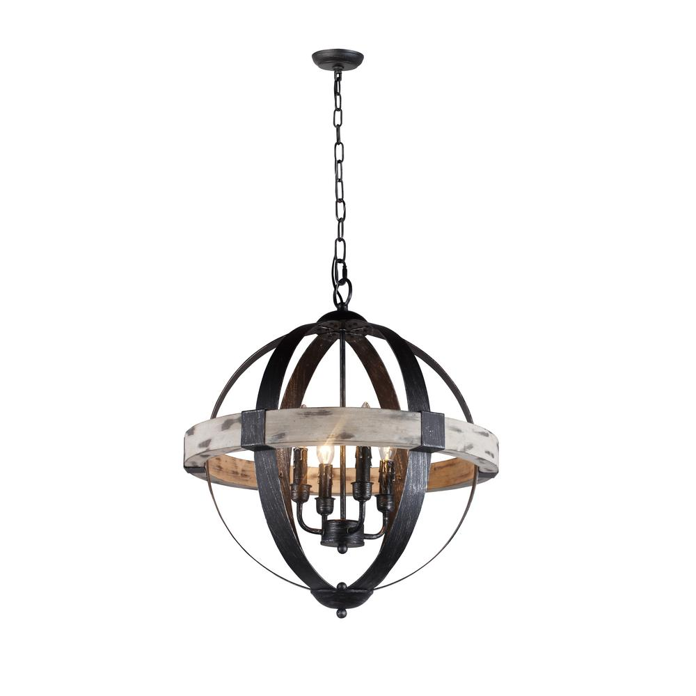Y Decor Zeus 4-Light Distressed Black Chandelier with Wood and Steel ...