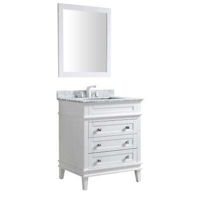 Wineck 30 in. W x 35 in. H Bath Vanity in White with Marble Vanity Top in Carrara White with White Basin and Mirror