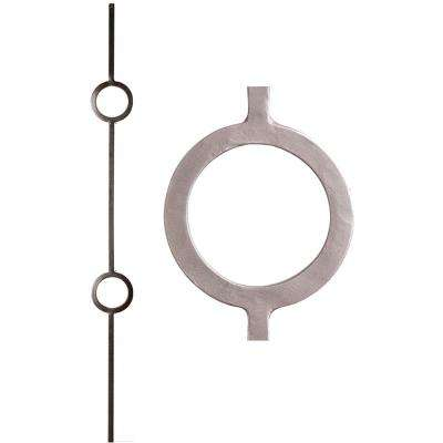 Aalto Modern 44 in. x 0.5 in. Ash Grey Double Ring Hollow Wrought Iron Baluster