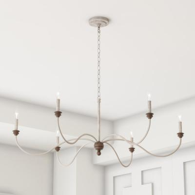 Hartsville 42.5 in. W 6-Light Chalk Washed White/Light Brown Beachwood Linear Country Coastal Farmhouse Chandelier