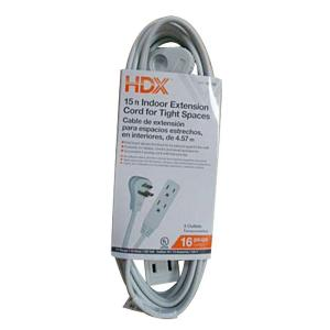 15 ft. 16/3 Indoor Tight Space Cube Tap Extension Cord, White