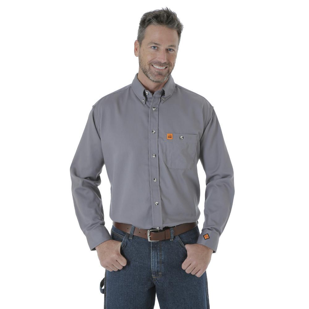 Men's Size 2X-Large Grey Work Shirt