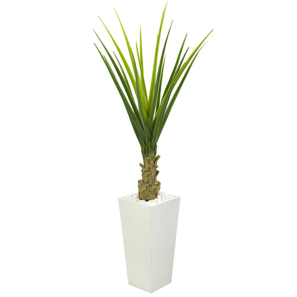Nearly Natural Indoor 5 ft. Agave Artificial Plant in White Planter
