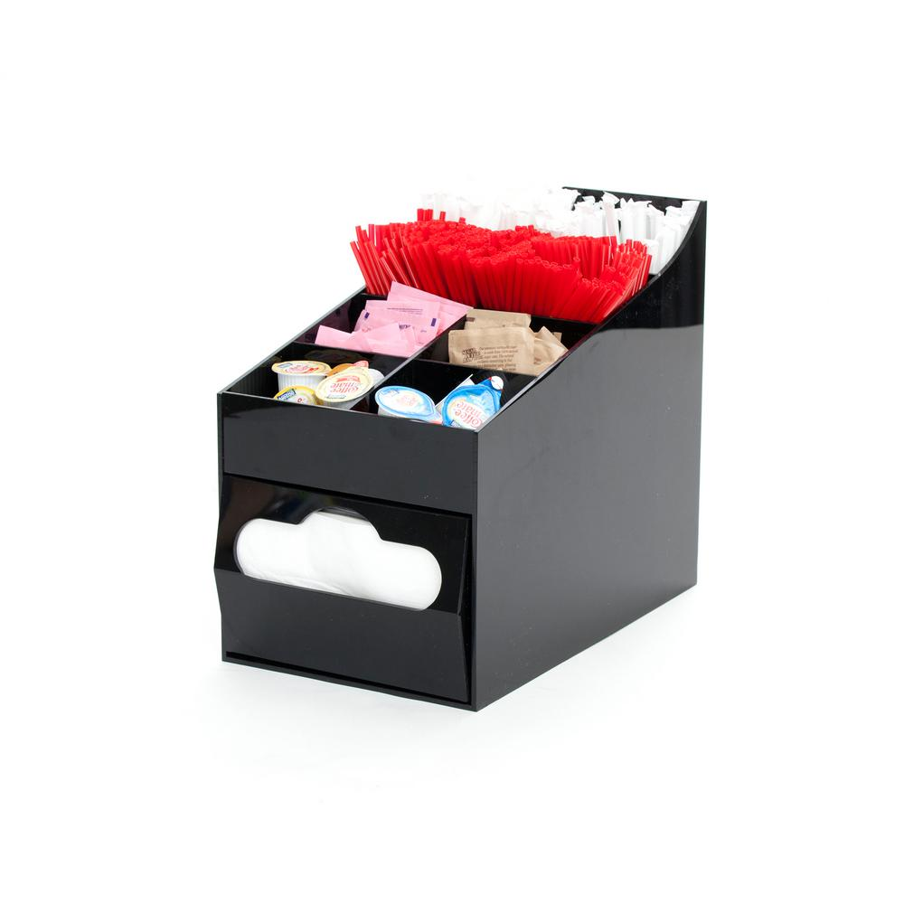 Acrylic 8 Compartment Black Condiment Organizer with Napkin Holder