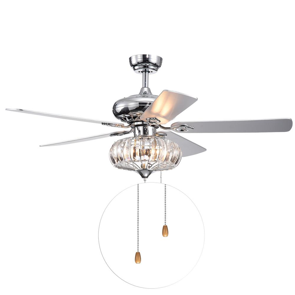 Warehouse of Tiffany Kyana DeBase 52 in. Indoor Chrome Hand Pull Chain Ceiling Fan with Light Kit