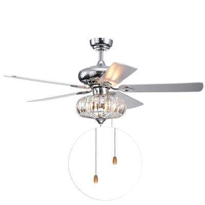 Kyana DeBase 52 in. Indoor Chrome Hand Pull Chain Ceiling Fan with Light Kit