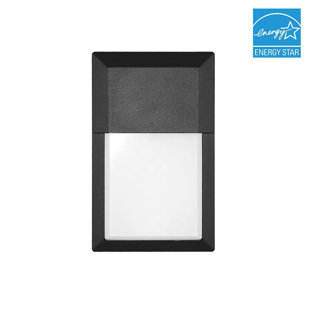 12-Watt Black Outdoor Integrated LED Mini Wall Pack Light in Cool