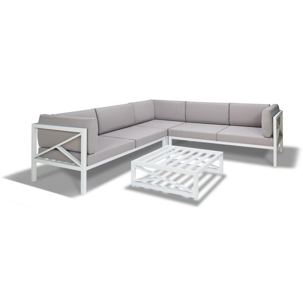 S\'DENTE Caerus White 4-Piece Aluminum Patio Sectional Set with Grey ...