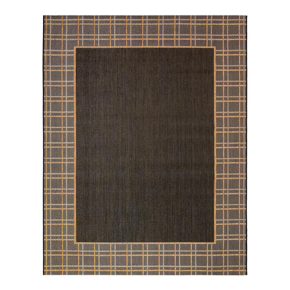 Logan Chestnut/Black 8 ft. x 10 ft. Border Indoor/Outdoor Area Rug