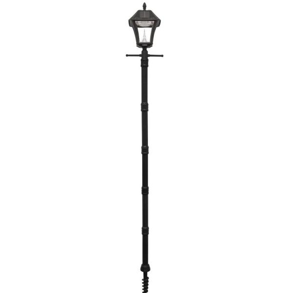 Baytown II 9.75 in. Black Integrated LED Outdoor Resin Solar Post Light and Lamp Post with EZ-Anchor Base