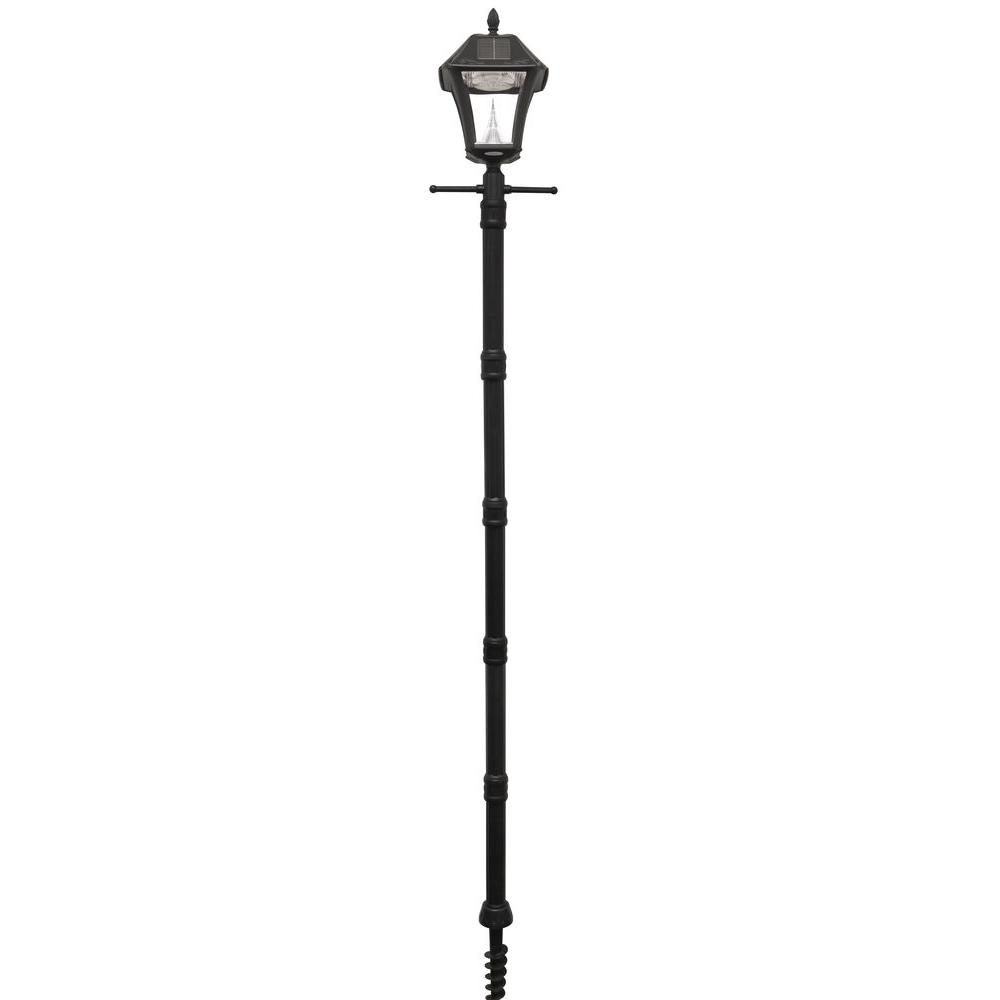 Solar post lighting outdoor lighting the home depot baytown ii black resin solar warm white outdoor integrated led post light and lamp post aloadofball