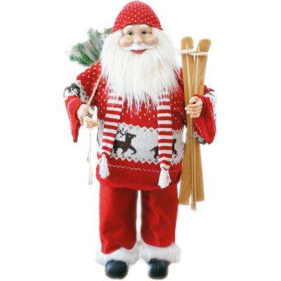 36 in. Christmas Music and Motion Santa with Skis