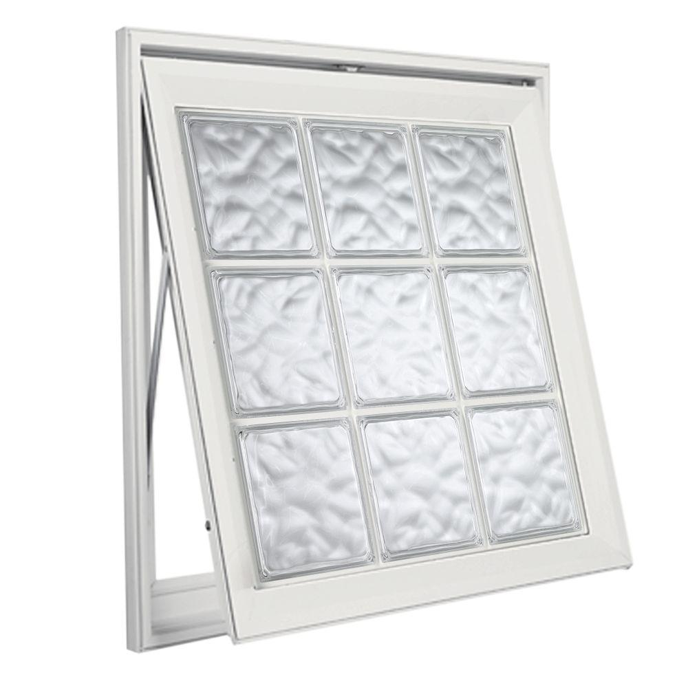 Hy-Lite 37 in. x 37 in. Acrylic Block Awning Vinyl Window - White