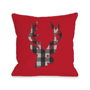Plaid Deer Red Black Gray Graphic Polyester 16 in. x 16 in. Throw Pillow