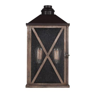 Feiss Lumiere' Collection 2-Light Dark Weathered Oak/Oil-Rubbed Bronze Outdoor 19 in. Wall Lantern Sconce