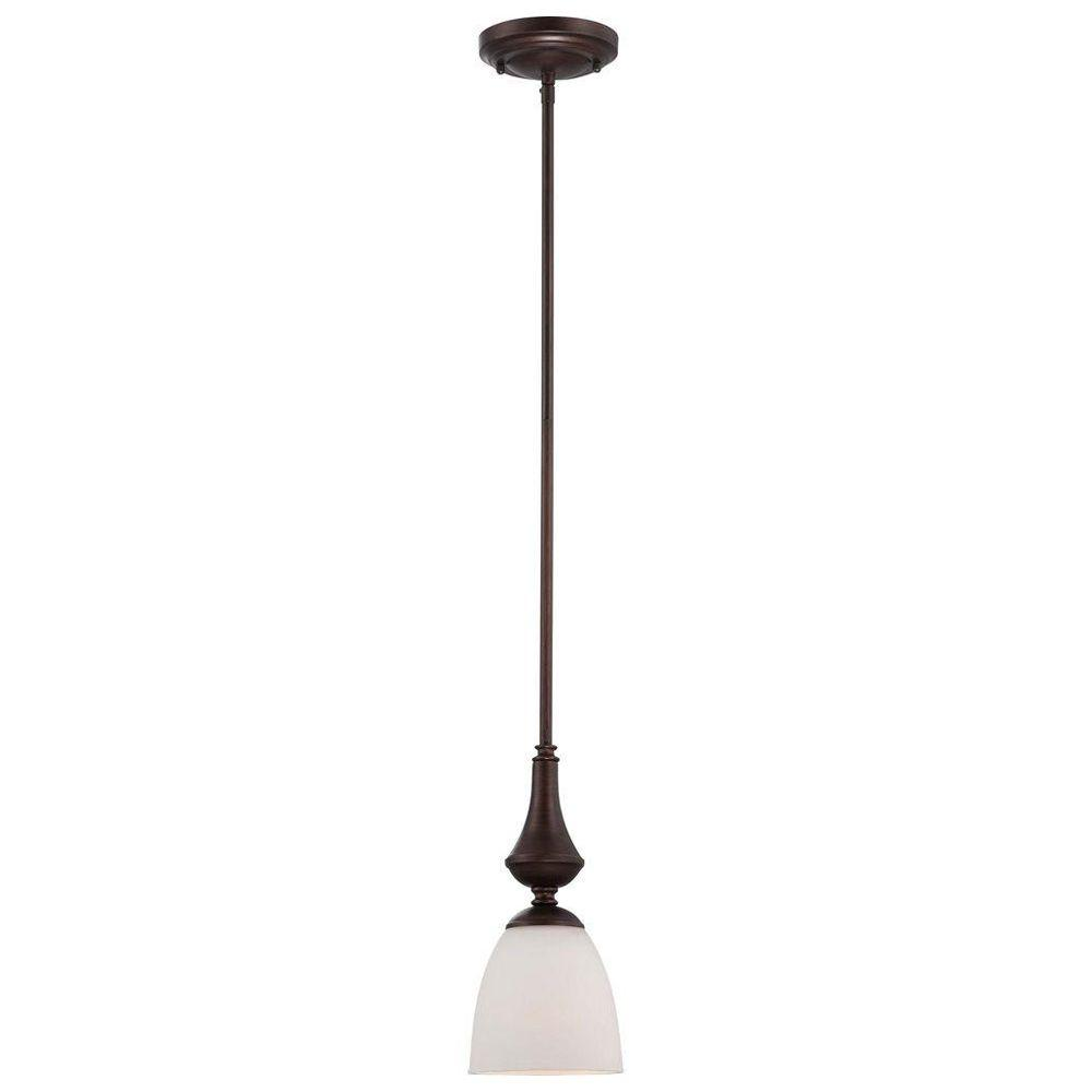Glomar 1-Light Prairie Bronze Mini Pendant with Frosted Glass Shade