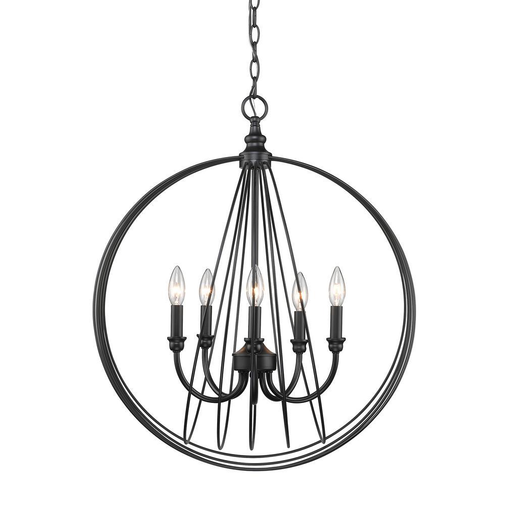 Quinn 5-Light Black Pendant